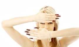 Blond with long nails Royalty Free Stock Image