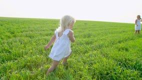 Blond mała śliczna dziewczyna w biel sukni bieg na zielonym polu siostrzany i uśmiechnięty Siostry, childs, żartują bieg wewnątrz zbiory wideo
