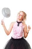 Blond magitian woman play with hat and magic wand Stock Images