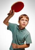 Blond man boy playing table tennis forehand takes Stock Photos