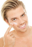 Blond man creme face Royalty Free Stock Photography