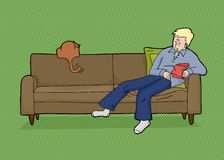 Blond Man with Food and Cat. Sleeping man with chips and rear of cat on couch Stock Image