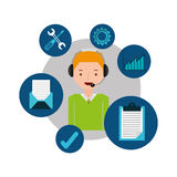 Blond man support operator assistance. Vector illustration eps 10 Royalty Free Stock Images
