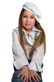 Blond meisje dat de hoed draagt Stock Foto