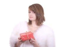 Blond meisje in de hoed van de Kerstman   Stock Afbeelding