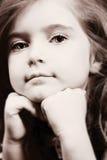 Blond meisje in denim - sepia Stock Fotografie