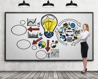 Blond meisje dichtbij whiteboard met bedrijfspictogrammen Royalty-vrije Stock Foto's