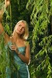 Blond meisje in het bos stock foto's