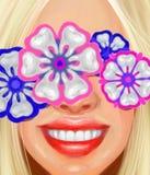 Blond meisje met een mooie glimlach en ornamenten in de vorm van tanden in de stijl van olieverfschilderij royalty-vrije stock foto's