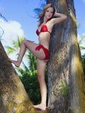 Blond meisje in rode bikini in Hawaï Stock Foto