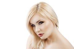 Blond met haar meer dan één schouder Stock Afbeelding