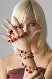 Blond met halsband royalty-vrije stock foto's