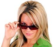 Blond met Zonnebril Stock Foto