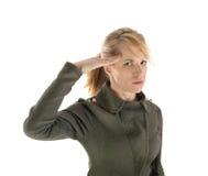 Blond militairmeisje Stock Afbeelding