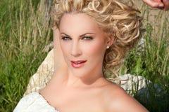 Blond mit blauen Augen Stockfotos