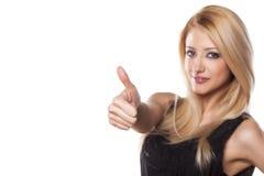 Blond mit dem Daumen oben Stockbilder