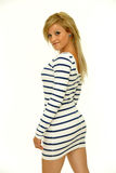 Blond mit festem Kleid Stockfotografie