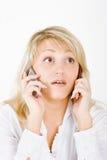 Blond mit Handys Lizenzfreies Stockbild