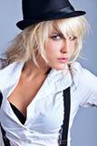 Blond mit Hut Stockfotografie