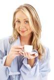 Blond mit Tasse Kaffee Stockfotografie