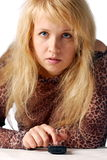 Blond mit Telefon Lizenzfreie Stockbilder