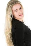 Blond Model. Beautiful young blond model with striking green eyes royalty free stock image