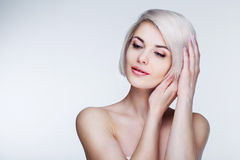Blond model with brown eyes Royalty Free Stock Photo