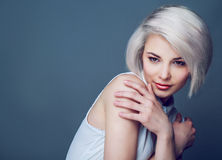 Blond model with brown eyes Royalty Free Stock Photos