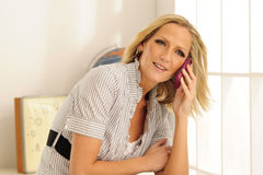 Blond Model Cell Phone Stock Photography