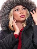 Blond model in coat Royalty Free Stock Images