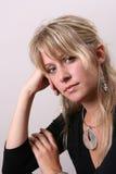 Blond Model In Black Stock Image