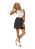 Blond model with luxury hair and brown skirt isolated Stock Photo