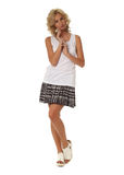 Blond model with luxury hair and plaid skirt isolated Royalty Free Stock Photo