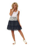Blond model with luxury hair and skirt isolated Royalty Free Stock Photo