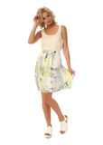 Blond model with luxury hair and summer skirt isolated Stock Photos