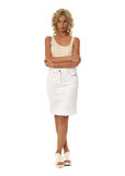 Blond model with luxury hair and white skirt isolated Stock Photos