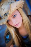 Blond Model Smiles While Wearing Cowboy Hat Royalty Free Stock Photo