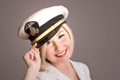 Blond model with tipping hat royalty free stock photo
