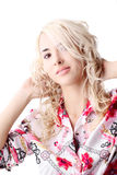 Blond model wearing a color shirt Royalty Free Stock Images