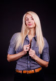 Blond model  wearing shirt Stock Photos