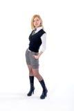 Blond modell för sysselsatthetkvinna som isoleras på vit Arkivbild