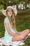 Blond modell Outdoors Arkivbilder