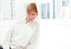 Blond modern man portrait in summer terrace Royalty Free Stock Photography