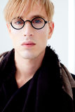 Blond modern student man with nerd glasses Stock Photography
