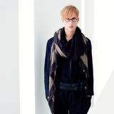 Blond modern student man with nerd glasses Royalty Free Stock Photos