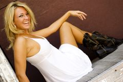 blond mody model Obrazy Stock