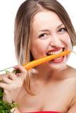 blond morot som äter kvinnan Royaltyfria Foton