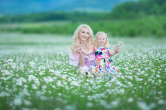 Blond mother with cute little daughter wearing white colourful pink dresses in chamomile field, summer time Enjoying spending time royalty free stock image