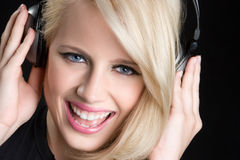 Blond Music Girl Stock Photo
