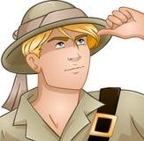 Blond Nature Explorer. Vector illustration of a blond nature explorer looking up Stock Photography